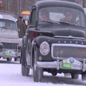 Gamla Volvo PV:ar deltog i rallyt.