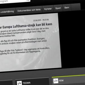 Yles tv-kanaler live på Arenan.