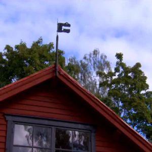 Vindflöjen tillbaka på Gårdshusets tak.