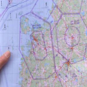 Karta över områden man får flyga med paramotor.