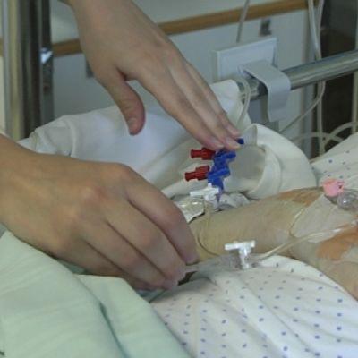 En patient på ett sjukhus