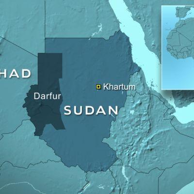 Karta över Tchad och Sudan