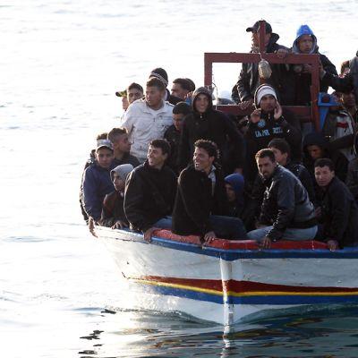 Flyktingar anländer till ön Lampedusa