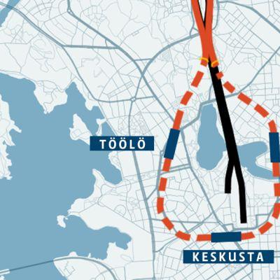 Suunnitelmien mukaan Pisararata sukeltaisi tunneliin Pasilan eteläpuolella ja sen maanalaiset asemat tulisivat Hakaniemeen, Keskustaan ja Töölöön.