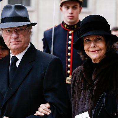Ruotsin kuningaspari Kaarle Kustaa ja Silvia Belgiassa joulukuussa 2014.
