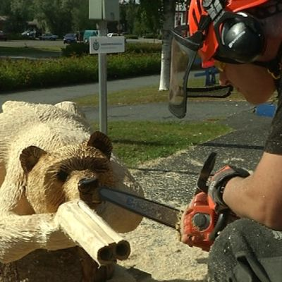 Moottorisahalla tehty puinen karhu.