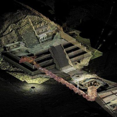 Teotihuacánissa sijaitsevan Quetzalcoatlin temppelin laserskannattu 3D-malli, josta näkyy hautakammioihin johtava tunneli.