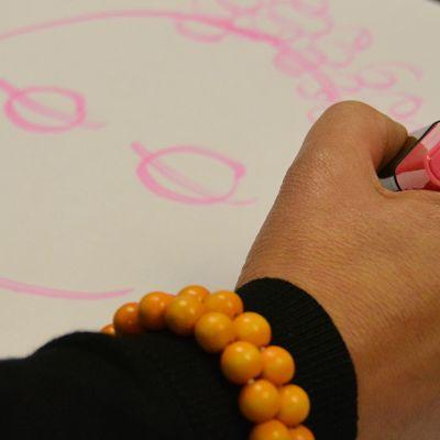 Lähikuva kädestä, joka piirtää hymynaamaa