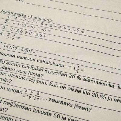 Matematiikan tehtäviä.