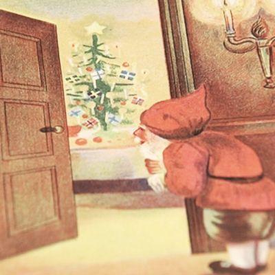 Kuvassa näyttelyssä esillä oleva vanha joulukortti.