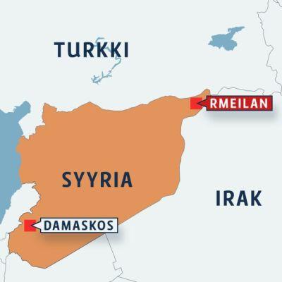 Kartta Rmeilanin sijainnista Syyriassa.