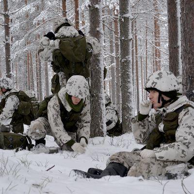 Sotilaita ruokailemassa talvisessa mäntymetsässä.