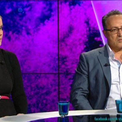 Alexis Kouros ja Kaisa Väkiparta A-studiossa.