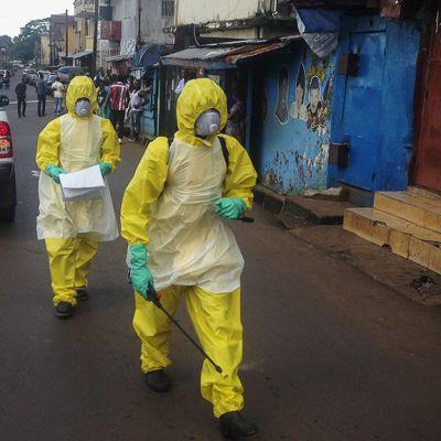 Keltaisiin suojapukuihin pukeutuneita terveystyöntekijöitä Freetownissa, Sierra Leonessa.