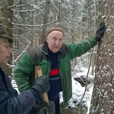 Luonnoperintösäätiön hallituksen puheenjohtaja Pentti Linkola ja Kotirannan suojelualueen myynyt Olavi Sillanpää