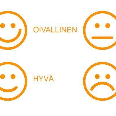 Elintarviketurvallisuusvirasto Evira Oiva-asteikko hymiöt.