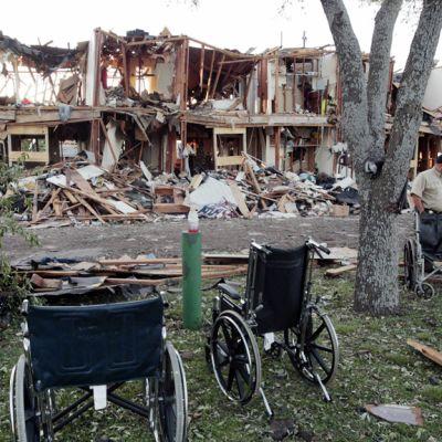 Lannoitethdasräjähdyksessä tuhoutunut asuintalo.