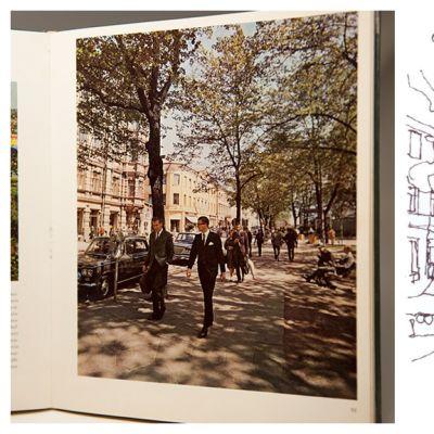 Vasemmalla Markus Lepon kuva Helsinki ja helsinkiläiset -kirjasta vuodelta 1966 ja  oikealla kuva Maija Louekarin kilpailutyöstä vuodelta 2003.