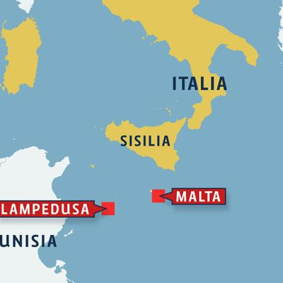 Kartta Italia, Tunisian ja Maltan alueesta.