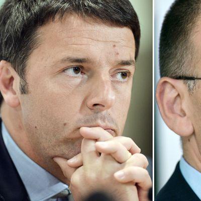 Firenzen kaupunginjohtaja Matteo Renzi (vas.) ja syrjäytetty pääministeri Enrico Letta.