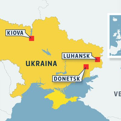 Ukrainan kartta, johon merkitty Kiova, Luhansk sekä Donetsk.