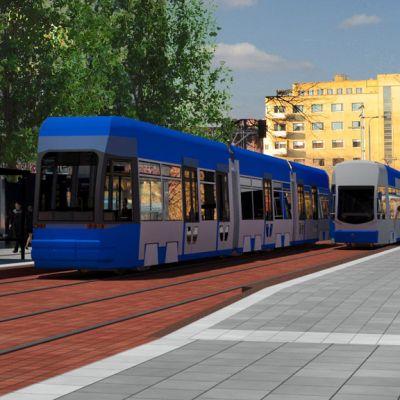 Havainnekuva, jossa kaksi raitiovaunua Hämeenkadulla.