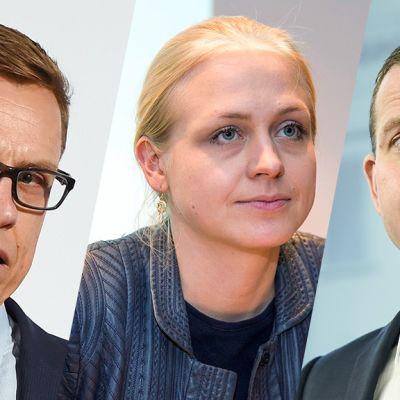 Alexander Stubb, Elina Lepomäki ja Petteri Orpo.