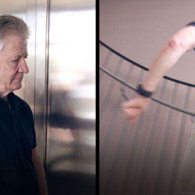 Hissinousu (vas.) säästi Pentti Mikkoselta vain kuusi sekuntia portaiden nousuun (oik.) verrattuna.