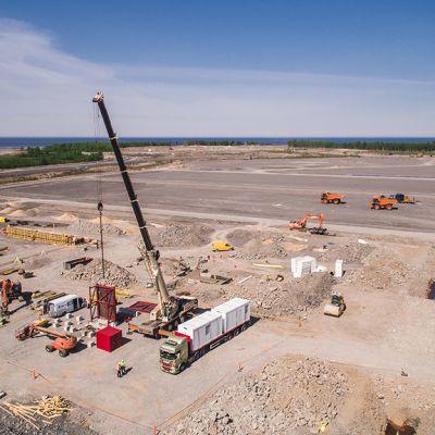 Fennovoiman ydinvoimalan rakennustyömaa Pyhäjoella