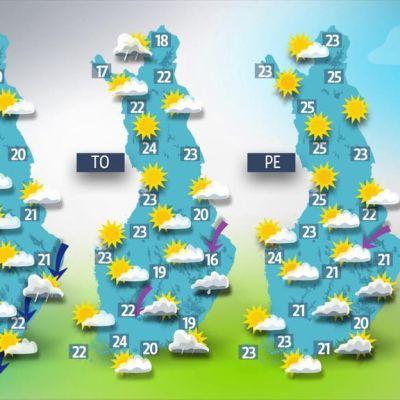 Kolmen päivän sääennuste.