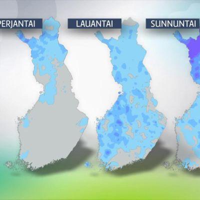 Ennuste sademääristä Suomessa heinäkuun viimeisen viikonlopun aikana.