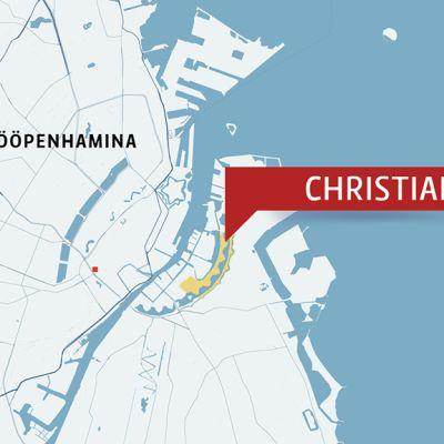 Christiania Kööpenhaminan kartalla.