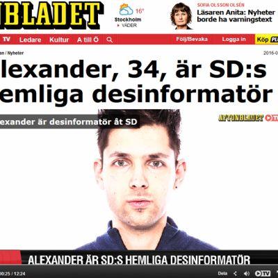 Kuvakaappaus Aftonbladet.se-nettisivuilta, kuvassa Alexander Fridback.