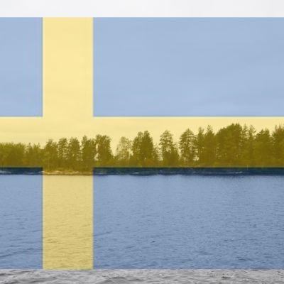 Kalliosaari, jonka päälle photoshopattu Ruotsin lippu