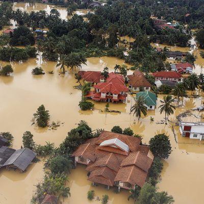 Tulvan ympäröimiä taloja.