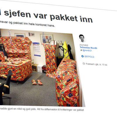 Kuvakaappaus NRK:n nettisivuilta jutusta, joka käsittelee paketoitua konttoria.