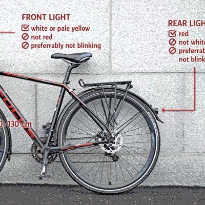 Valokuvan ja tekstigrafiikan yhdistelmässä näytetään, millaisia valoja suositellaan polkupyörään.