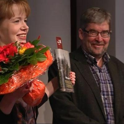 Mirkka Lappalainen Tieto-Finlandia-palkinnon jakotilaisuudessa