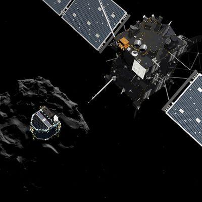 laskeutuja  komeetan pinnalla avaruudessa