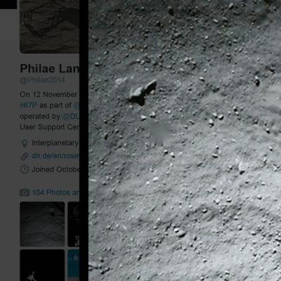 Kuvakaappaus Philae-laskeutujan Twitter-tililtä.