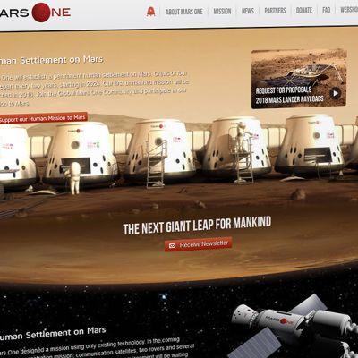 Kuvakaappaus Mars One -projektin nettisivusta.