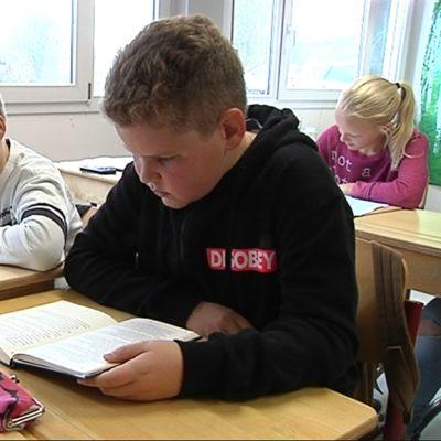 Kuvassa 5-luokkalaiset pojat lukevat koululuokassa kirjoja