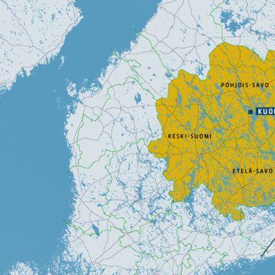 Kartta Kuopion erityisvastuualueesta, johon kuuluu Pohjois-Savo, Pohjois-Karjala, Etelä-Savo ja suurin osa Keski-Suomesta.