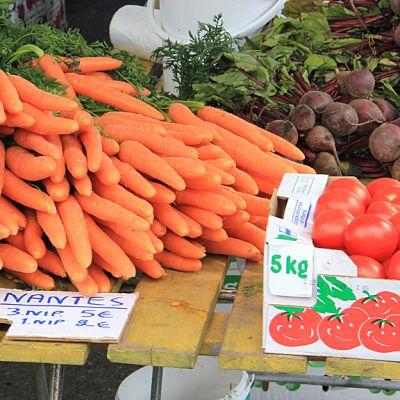 Kuvassa porkkanoita ja lanttuja toripöydällä.