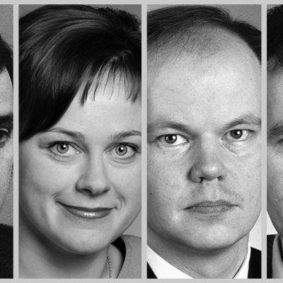 Grafiikka, jossa vasemmalta lukien Paavo Väyrynen, Paula Lehtomäki, Olli-Pekka Heinonen sekä Jouni Backman.