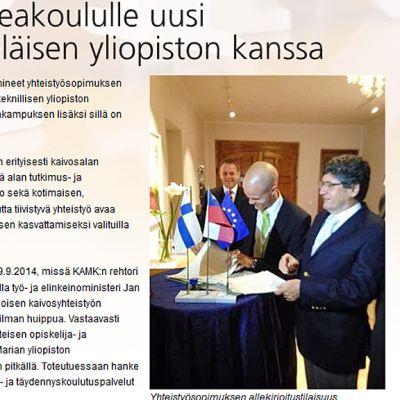 Sivukaappaus Kajaanin ammattikorkekoulun sivulta.