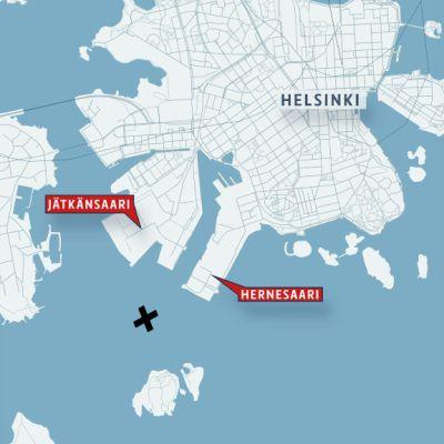 Kartta paikasta, josta henkilö löydettiin Helsingin edustalla.
