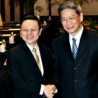 Wang Yu-chin ja Zhang Zhijun tapasivat helmikuussa Kiinan Nanjingissa.