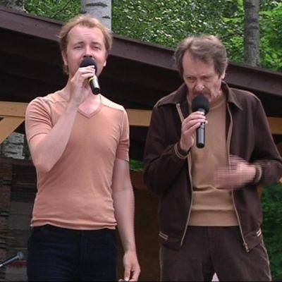 Kolme Baddingia: Kalle Hellman lapsena, Väinö Weckström nuorena ja Kalevi Läntelä vanhana.