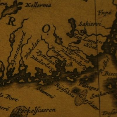 Vanha piirretty kartta Suomenlahden rannikosta.